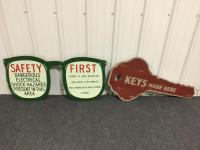 2 Wooden Advertising Signs - glasses 36 x 17.5 & key 35 x 18