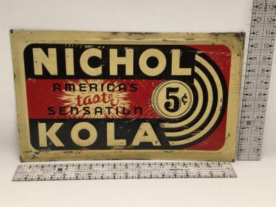 Vintage Nichol Kola Tin Sign - 18.5 x 11