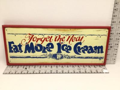 Vintage Eat More Ice Cream Framed Tin Sign