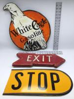 Vintage Tin Stop Sign and 2 Custom Made Wooden Signs