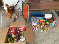 Toys! Vintage Fisher-Price, Legos, board games and more includes wonder horse deluxe and Karam board