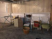 Variety lot: Chairs, Ironing board/iron, high chair, cooler, bushel basket, picnic basket, 1 legal/1 letter filing cabinet, welcome decor. See all pho