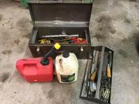 Toolbox and contents with small gas can and bottle of chain oil