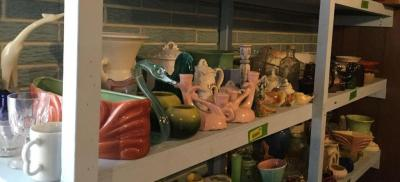 Large variety of pottery and glassware
