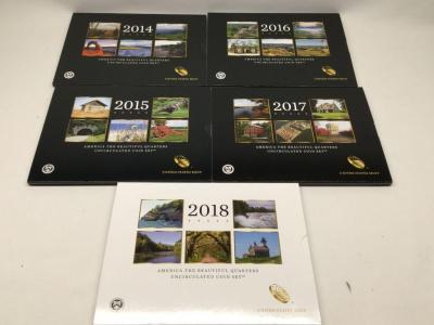 Five uncirculated state quarter proof sets 2014 through 2018
