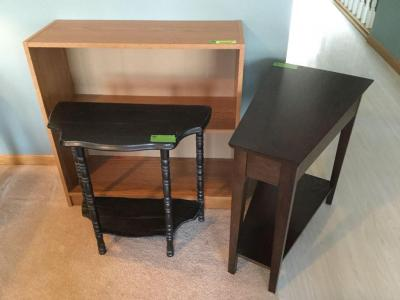 Bookshelf and 2 small side tables