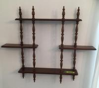 Pair of walnut spindle shelves 30 x 26""