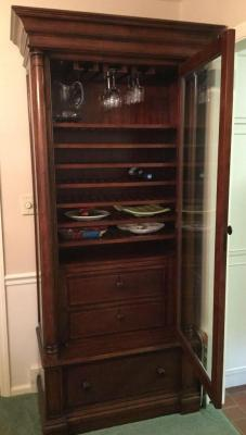 Thomasville wine cabinet 35 x 19 x 84 does not include any items in cabinet