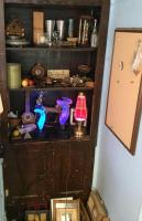 Variety lot of liquor/bar related items, lava lamp and lightning lights, picture frames and more