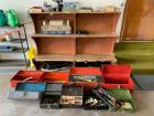9 tool boxes with various odds and ends tools - also includes wooden garage shelf