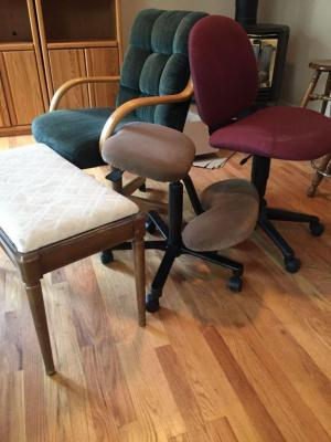 Office chairs, piano bench