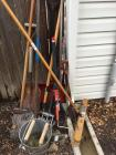 Digging bar, shovels, ax, Rake ,mop, bucket, broom