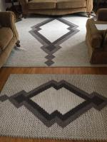 Area Rug 125 x 98; small matching rug 63 x 37, beige and brown tones