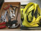 Tools channel locks, vice grips, hammer, wire pliers and tiedowns