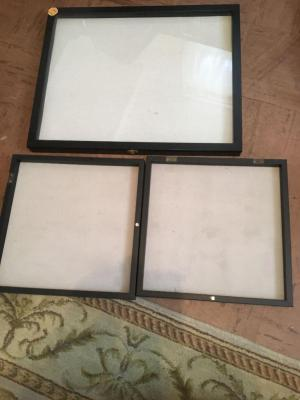 Glass display case 21x17; two open display cases 13x13x1 inch deep