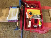 Auto travel safety box, jumper cables, flares, window scrappers