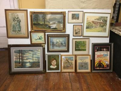 13 pieces of framed art