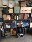 Speakers, VHS tapes, eight tracks, tools, brass cleaner, Radio, Photo Projector INCLUDES SHELVES