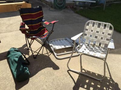 Five lawn chairs - two bag chairs and three nylon webbing