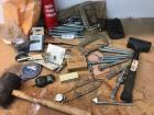 Assorted hardware C-clamps, rubber mallets, circuit tester and much more