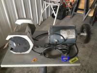 "Table mounted Sears 5"" bench grinder and wire wheel"