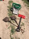 Yard hose reel and hose, shovels