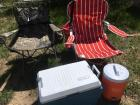 Camp fold up chairs and Rubbermaid cooler's