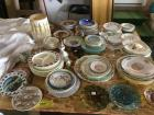 So much glassware---plates, Hen on nest, carnival glass & Flintstones child's plate. See all photos