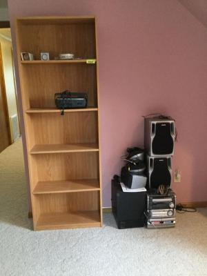 Aiwa stereo system & speakers, shelf, portable radio and sundry items. See photos