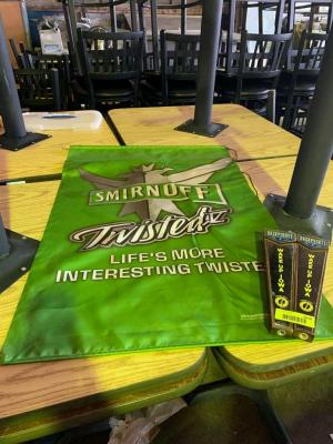 Smirnoff Twisted wall hangning and 2 Wake Up Iowa tap handles . See photos