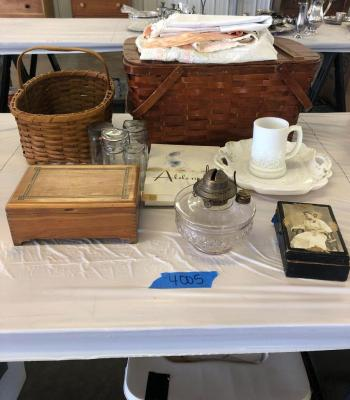 Picnic basket, linens, milk glass, dresser boxes, vintage glass storage jars w/ lids. See all photos
