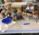 Bears, linens, doll sized trunk & doll bench. Please see photos