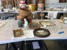 Glassware, framed art, baskets, blue ball jar, glass dome & oil lamps. See photos please