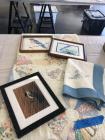 3 framed pictures, a quilt and 2 embroidered pillowcases. See al photos