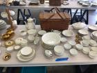 Picnic basket and large quantity gold rim china-various patterns. Please see photos
