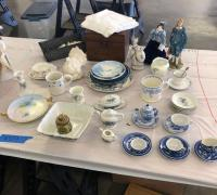 Dresser box, blue patterned china, miniature tea sets & linens See all photos