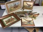 A pheasant lover's dream! Tin tray, 3 pieces of wall art, 3 figurines, a glass, and feathers.