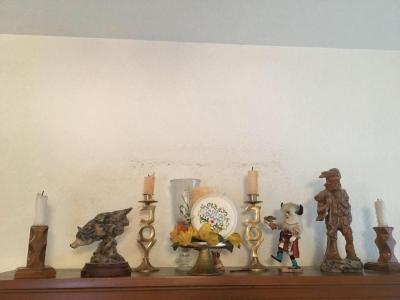 Signed Kachina doll, candle holders, wolf figurine
