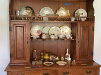 Contents of hutch SHELVES only-Lefton figurine, Nippon cream & sugar set, Lenox plate See all photos