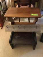 Wooden step stool, side table, wall mount coat hanger See photos
