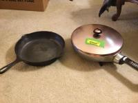 Griswold number nine cast iron skillet, GE electric skillet