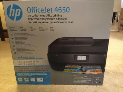 HP office jet 4650 home office printing system. New in box, never opened. See all photos