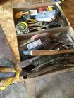 Various tools trowels, vice grips, handsaw's, mower blades, tape measures and more