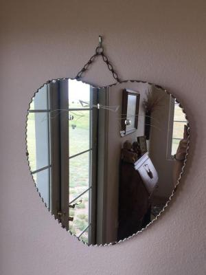 Heart shape mirror 18x17 with etched design