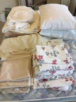 Full size bedding, flannel sheets, bed skirt, blankets, pillows