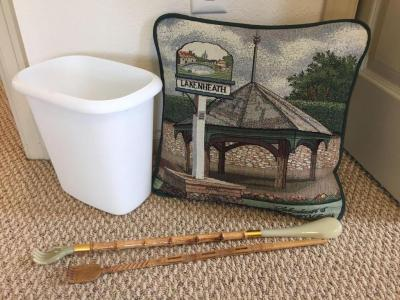 Decorative pillow, small trash can, back scratcher, Glass wall art The Tea Shop by Hazel,