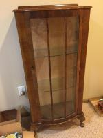 Small curio cabinet with two glass shelves 22x12x48