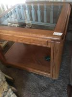 Two glass top end tables 26 x 24