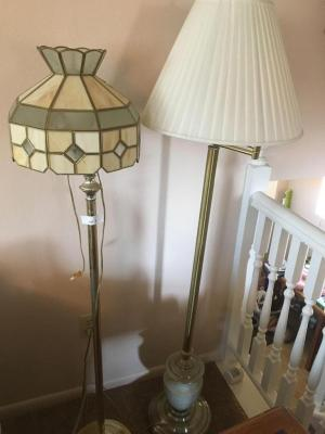 Two pole lamps, brass lamp