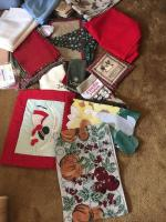 Christmas linens, table cloths, runners, placemats and more